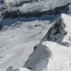 Blick vom Ostgrat auf das spaltenreiche Gletscherfeld auf österreichischer Seite. Foto: BS, © Peer